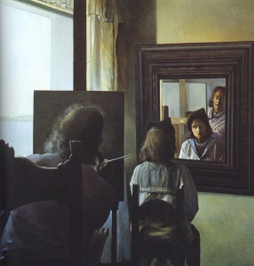 Dali from the Back Painting Gala from the Back Eternalized by Six Virtual Corneas Provisionally Reflected in Six Real Mirrors-1973