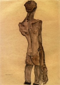 Egon Schiele standing-male-nude-back-view-1910
