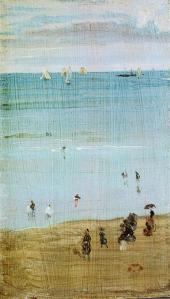 James McNeill Whistler harmony-in-blue-and-pearl-the-sands-dieppe 1885