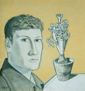 Lucian Freud self-portrait-with-hyacinth-in-a-pot 1948