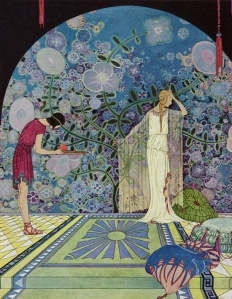 Prosperina Refuses the Pomegranate. From Tanglewood Tales by Nathaniel Hawthorne with illustrations by Virginia Frances Sterrett.