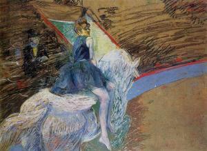Henri de Toulouse-Lautrec at-the-cirque-fernando-rider-on-a-white-horse-1888
