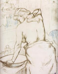 Henri de Toulouse-Lautrec woman-at-her-toilette-them-washing-herself-1896