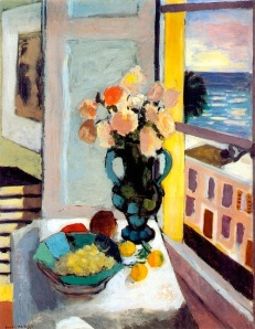 Henri Matisse-Saffron Roses in front of the Window-1925