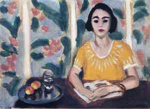 Henri Matisse woman-reading-with-peaches-1923