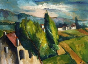 Maurice de Vlaminck view-of-a-village-with-red-roofs 1912