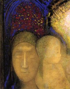 Odilon Redon woman-and-child-against-a-stained-glass-background