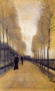 Vincent van Gogh alley-bordered-by-trees-1884(1)