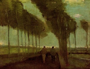Vincent van Gogh country-lane-with-two-figures-1885(1)
