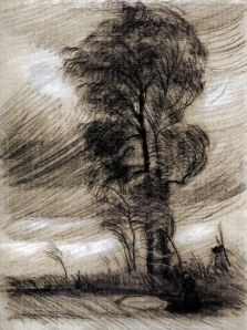 Vincent van Gogh landscape-in-stormy-weather-1885