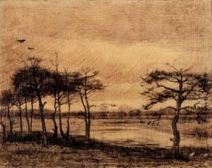 Vincent van Gogh pine-trees-in-the-fen-1884