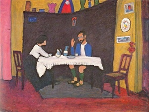 Kandinsky and Emma Bossi at the table in the Murnau house 1912