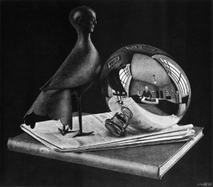 M.C. Escher still-life-with-spherical-mirror 1934