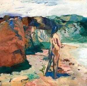 Figure with White Lake Elmer Nelson Bischoff