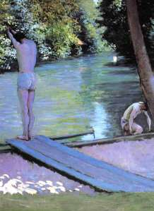 Gustave Caillebotte bather-preparing-to-dive 1878