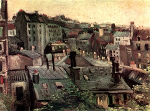 Vincent van Gogh view-of-roofs-and-backs-of-houses-1886